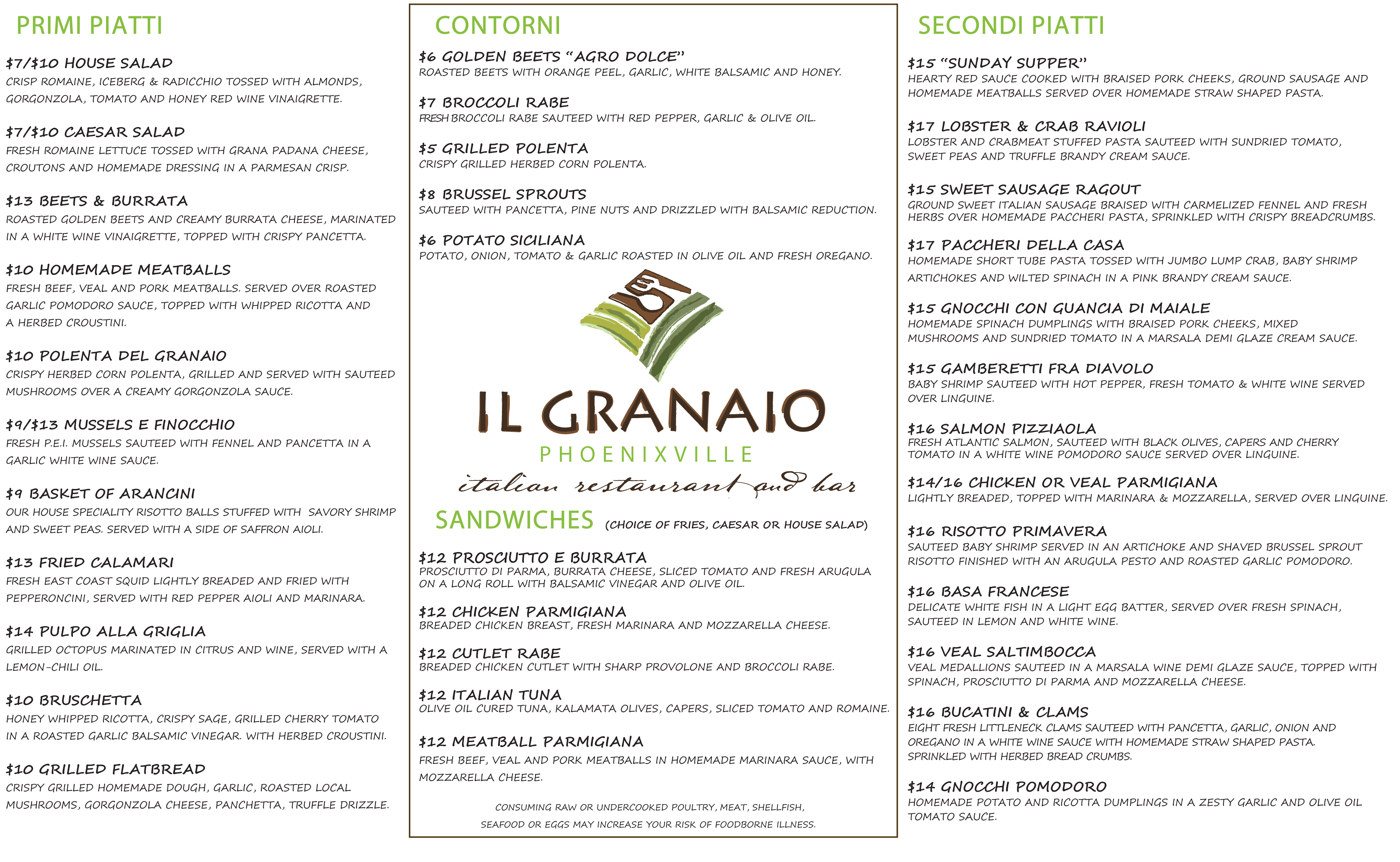 ilgranaio lunch menu pdf